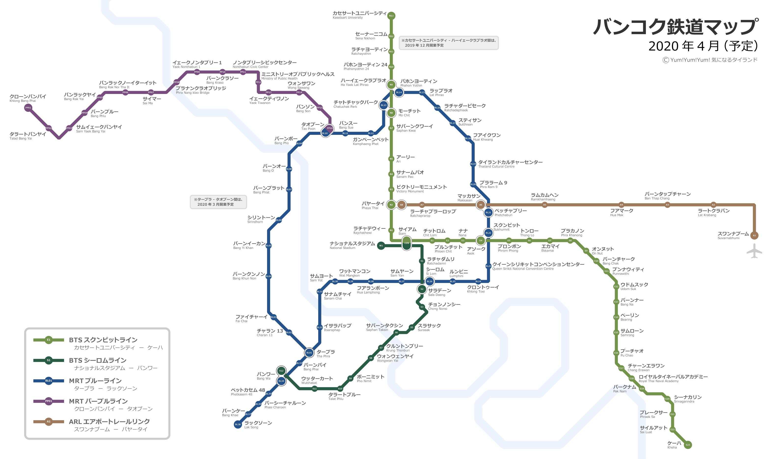 2019-2020年最新版バンコクBTS、MRT、ARL路線図2019年10月